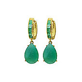 QP Jewellers 1.30ct Emerald Ovate Drop Huggie Earrings in 14K Gold