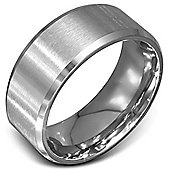 Urban Male Stainless Steel 10mm Brushed Finish Plain Ring for Men