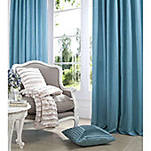 Catherine Lansfield Home Plain Faux Silk Curtains 90x90 (229x229cm) - JADE - Tie backs included