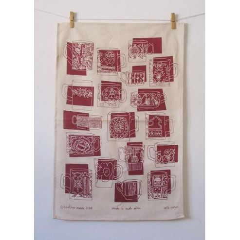 Mugs Raspberry Tea Towel