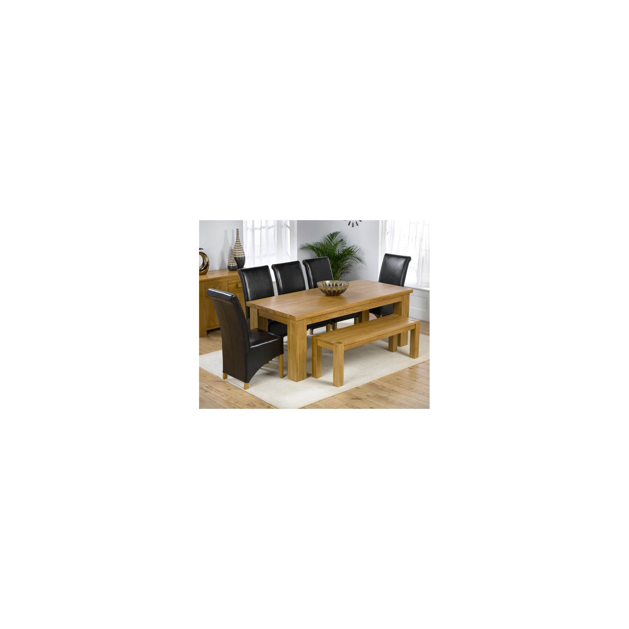 Mark Harris Furniture Barcelona Solid Oak Dining Table with Barcelona Chairs and Barcelona Bench