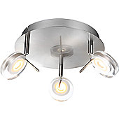 Home Essence Space Creative Led 3 Light Semi-Flush Ceiling Light in Nickel Matte