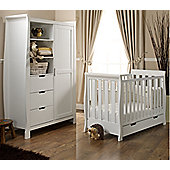 Obaby Lincoln 2 Piece Mini Cot Bed/Wardrobe/Sprung Mattress - White