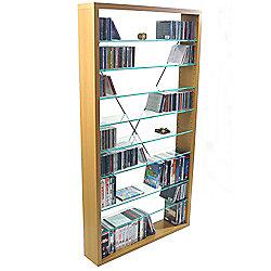 Arizona - Cd / Dvd / Blu-ray / Media Glass Storage Shelves - Beech