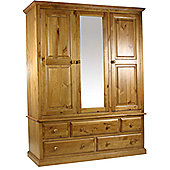 Kelburn Furniture Pine Gents Wardrobe with Mirrored Centre Door