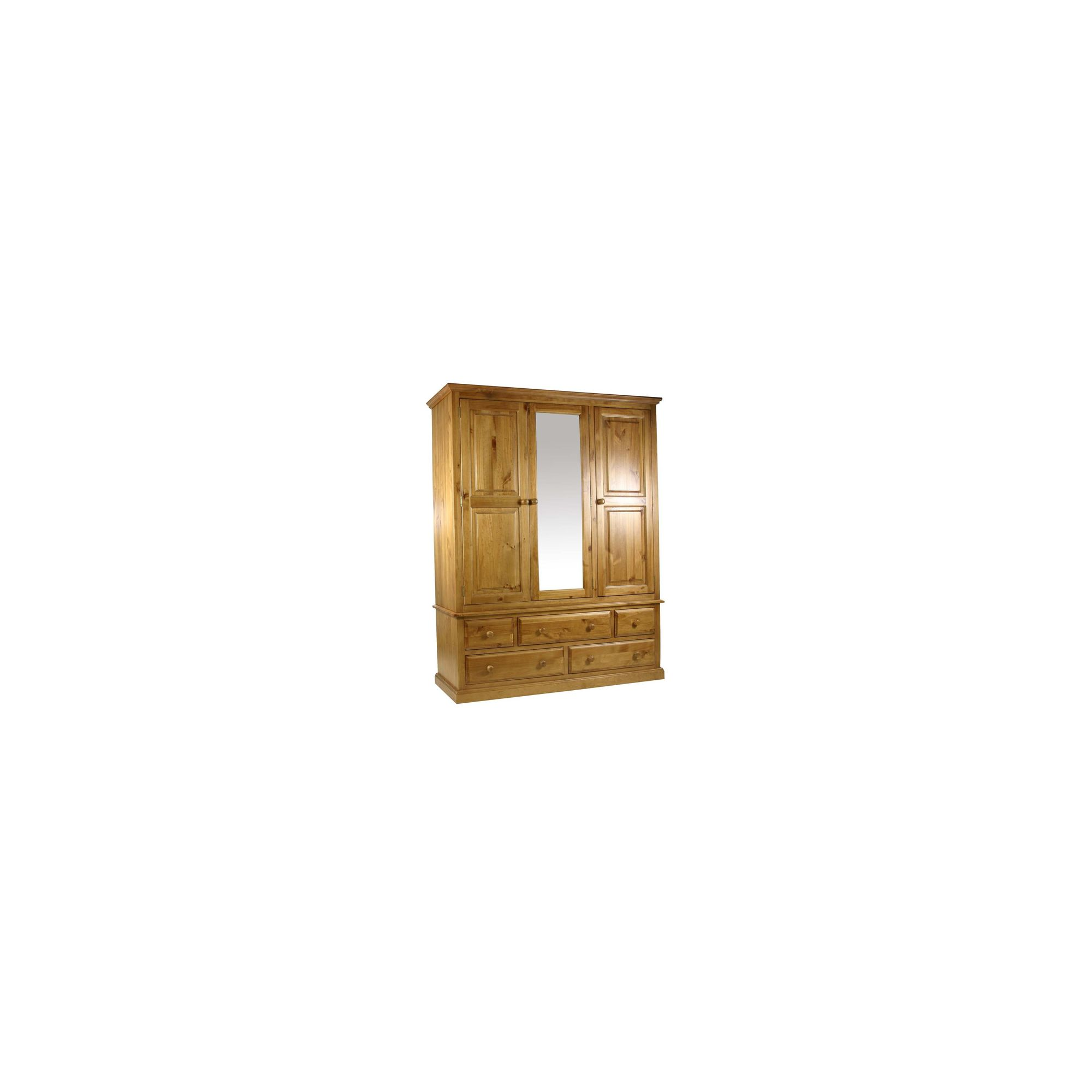 Kelburn Furniture Pine Gents Wardrobe with Mirrored Centre Door in Antique Wax Lacquer at Tesco Direct