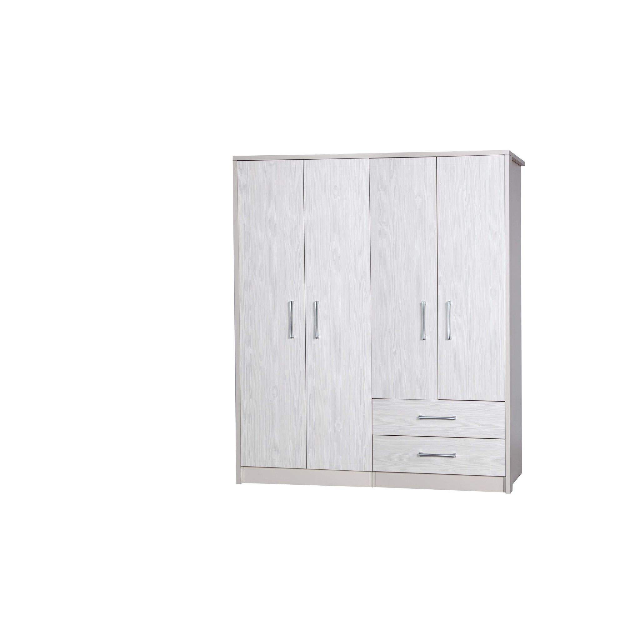 Alto Furniture Avola 4 Door Combi and Regular Wardrobe - Cream Carcass With White Avola at Tesco Direct