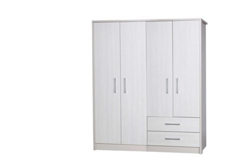 Alto Furniture Avola 4 Door Combi and Regular Wardrobe - Cream Carcass With White Avola