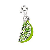 Rhodium Coated Sterling Silver Green Crystal Lime Link Charm