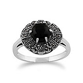 Gemondo 925 Sterling Silver 0.75ct Black Onyx & Marcasite Art Deco Ring