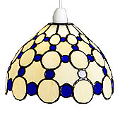 Loxton Lighting Tiffany Bistro 1 Light Dome Small Circles Shade - Beige / Blue