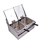 Homcom Electric Fryer 2X10L Deep Fat 2 Baskets Steel 5Kw