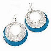 Silver Tone Turquoise Coloured Enamel Cut Out Hoop Earrings - 7.5cm Drop