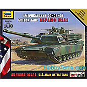 Zvezda Model Kit - Abrams M1A1 US Main Battle Tank - 1:100 Scale -