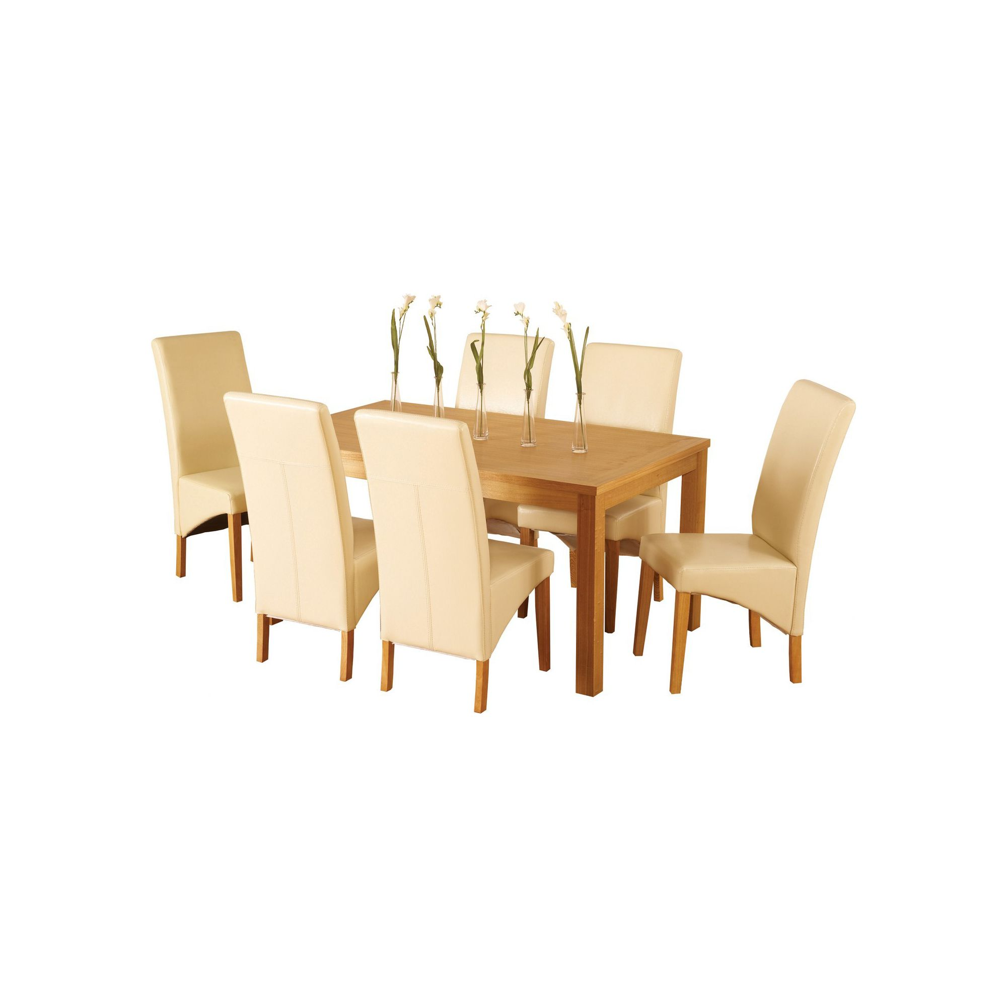 Home Essence Lawrence 7 Piece Dining Set with Cream Chairs at Tesco Direct