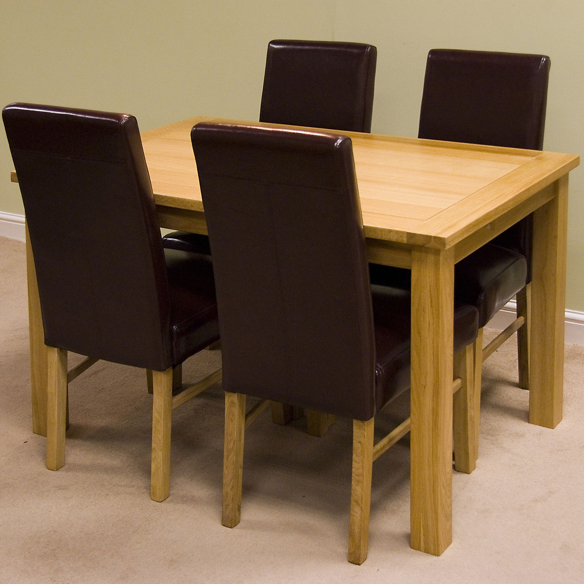 G&P Furniture Lyon Oak 5-Piece Large Fixed Top Dining Set