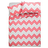 Tesco Basic chevron print duvet set DB flamingo