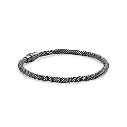 Jewelco London Rhodium Coated Sterling Silver Beaded Magnetic Popcorn Bracelet - 3.5mm