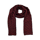 Maroon Red Horse Print Long Scarf