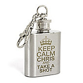 Personalised Keep Calm 1oz Hip Flask Keyring