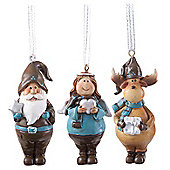 Father Christmas, Reindeer & Angel Set of Three Hanging Christmas Tree Decorations