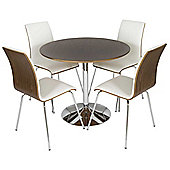 LEVV DTW-50 Walnut and White Dining Set