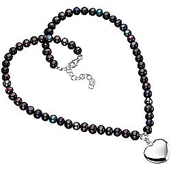 Black Freshwater Pearl Necklace with Heart Charm