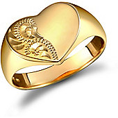 9ct Solid Gold polished Diamond cut heart shaped Signet Ring