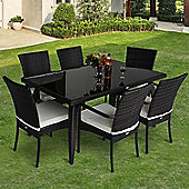 Outsunny Rattan Home Furniture Garden Wicker Dining Set Rectangular Table 6 Chairs