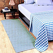 Homescapes Cotton Gingham Check Rug Hand Woven Blue White, 66 x 200 cm