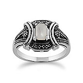 Gemondo 925 Sterling Silver 0.47ct Mother of Pearl & Marcasite Art Deco Ring