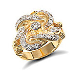 Jewelco London 9ct Solid gold premium weight Knot Ring hand set with CZ stones