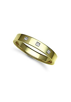 18ct Yellow Gold 4mm Flat Court Diamond set 15pts Trilogy Wedding / Commitment Ring