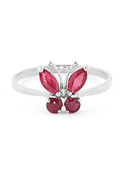QP Jewellers 0.60ct Ruby Butterfly Ring in 14K White Gold