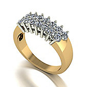 18ct Gold 14 Stone Moissanite 2 Row Ring