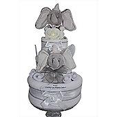 Deluxe Unisex Dumbo Nappy Cake Baby Gift with keepsake Capsule