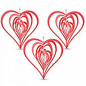 Set of Three Red Heart Shaped Steel Windspinners For The Garden