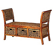 Aspect Design by Wayfair Water Hyacinth Three Drawer Water Hyacinth Bench