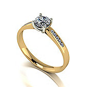 9ct Gold 5.0mm Round Brilliant Moissanite Single Stone Ring with Moissanite Set Shoulders