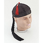 Chinaman Hat with Pigtail Fancy Dress