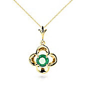 QP Jewellers 14in 0.68mm Corona Halo Necklace with 0.55ct Emerald Pendant in 14K Gold