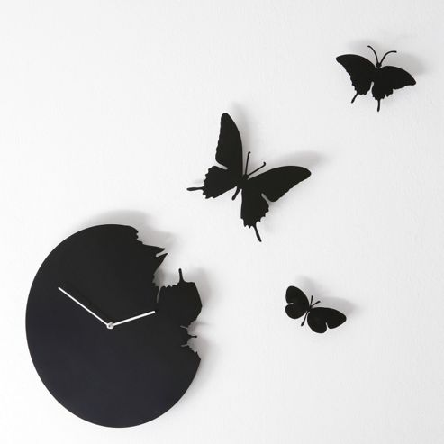Diamantini & Domeniconi Butterfly Wall Clock in Black