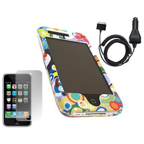 iTALKonline Potpuri SnapGuard Case, LCD Screen Protector and Car Charger - For  Apple iPhone 3G, 3GS