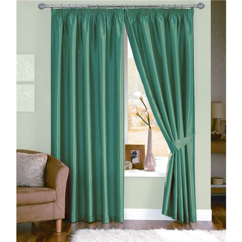 Dreams and Drapes Java 3 Pencil Pleat Lined Faux Silk Curtains (inc. t/b) 46x54 inches (117x137cm) - Teal