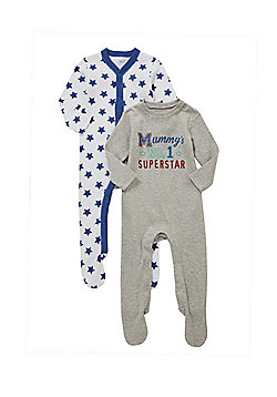 F&F 2 Pack of Superstar Slogan Sleepsuits - Blue