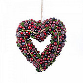 Artificial Frosted Red Berry & Vine Hanging Heart Christmas Wreath
