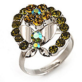 Crystal Butterfly And Flower Ring (Silver&Olive Green)