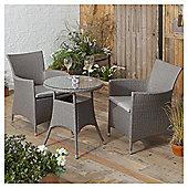 Rattan Garden Bistro Set, Grey