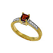 QP Jewellers Diamond & Garnet Ornate Gemstone Ring in 14K Gold