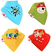Zippy Fun Characters Bandana Dribble Bibs, 4 pack, one size